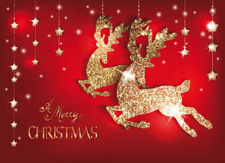 Greeting card with gold shiny deers and christmas decorations