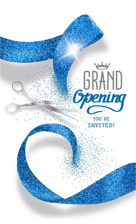 Ilustración de Grand opening banner with abstract blue abstract ribbon and scissors - Imagen libre de derechos