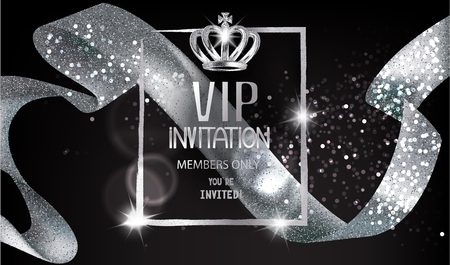 Illustration for VIP Invitation card with sparkling silver curly ribbon, frame and crown. Vector illustration - Royalty Free Image