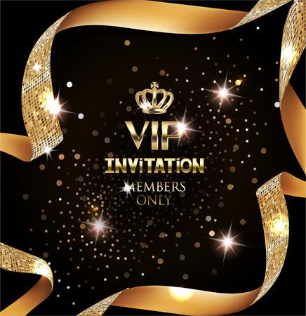 Ilustración de Elegant VIP invitation card with silk textured curled gold ribbon - Imagen libre de derechos