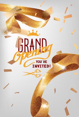 Ilustración de Grand opening invitation card with sparkling curly elegant ribbon. Vector illustration - Imagen libre de derechos