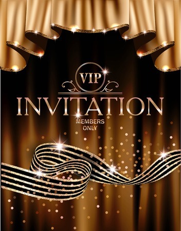 Illustration for VIP invitation card with gold curtains on the background and striped ribbon. Vector illustration - Royalty Free Image