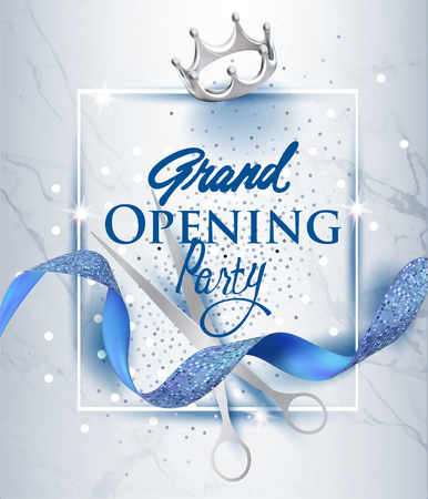 Illustration pour Elegant grand opening invitation card with blue textured curled ribbon and marble background. Vector illustration - image libre de droit
