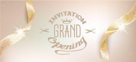 Illustration for Elegant grand opening beige invitation card with sparkling ribbons. Vector illustration - Royalty Free Image