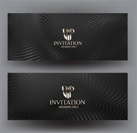 Illustration pour Vip invitation cards with halftone texture background. Vector illustration - image libre de droit