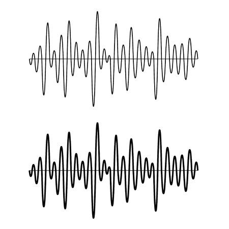 Ilustración de vector black seamless sinusoidal sound wave lines - Imagen libre de derechos