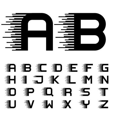 Ilustración de vector speed motion lines font alphabet letters - Imagen libre de derechos