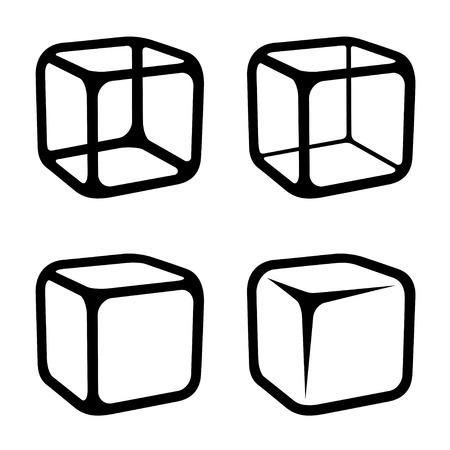 Illustration pour ice cube black symbols vector - image libre de droit