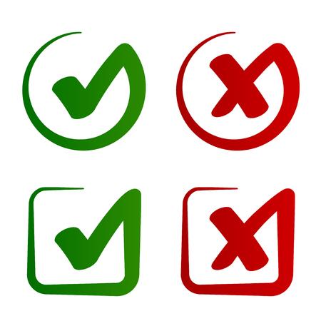 Illustration pour Check mark approved rejected symbol vector - illustration - image libre de droit