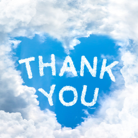Foto für sky cloud thank you concept word inside heart shape - Lizenzfreies Bild