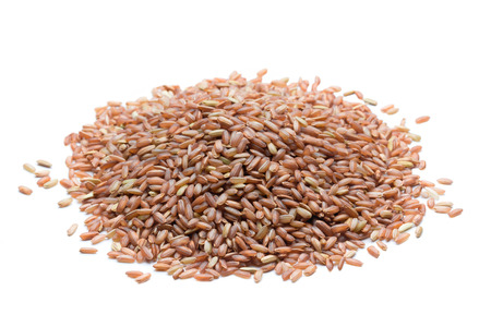 Photo for pile of brown rice isolated on white background - Royalty Free Image