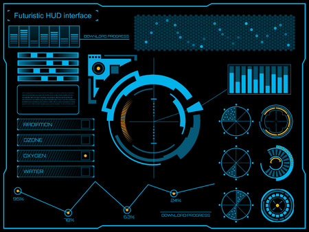 Ilustración de Abstract future, concept vector futuristic blue virtual graphic touch user interface HUD. For web, site, mobile applications isolated on black background, techno, online design, business, gui, ui. - Imagen libre de derechos