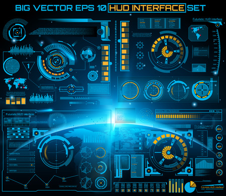 Illustration pour Abstract future, concept vector futuristic blue virtual graphic touch user interface HUD. For web, site, mobile applications isolated on black background, techno, online design, business, gui, ui. - image libre de droit