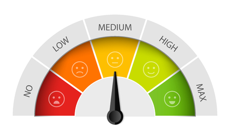 Ilustración de Creative vector illustration of rating customer satisfaction meter Different emotions art design from red to green. - Imagen libre de derechos