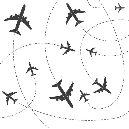 Illustration pour Creative vector illustration of plane with dashed path lines isolated on background. Art design airplane sky route. Abstract concept graphic element for air transportation presentation - image libre de droit