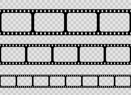 Illustrazione per Creative vector illustration of old retro film strip frame set isolated on transparent background. Art design reel cinema filmstrip template. Abstract concept graphic element - Immagini Royalty Free