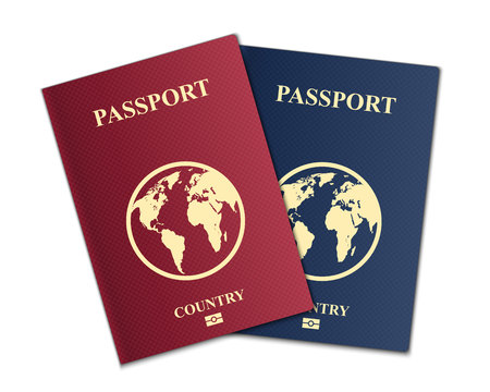 Illustration pour Creative vector illustration of passports with globe map isolated on transparent background. Art design. Front cover international identification document. Abstract concept graphic element - image libre de droit