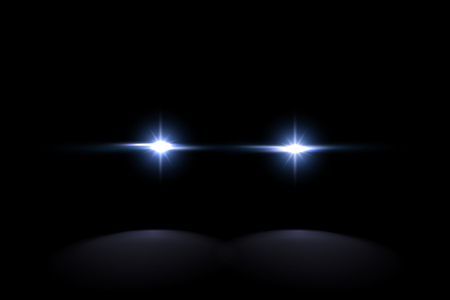 Ilustración de Creative vector illustration of police car silhouette headlights, blinking isolated on transparent background. Glowing headlamp. Red, blue siren lights. Art design. Abstract concept graphic element - Imagen libre de derechos