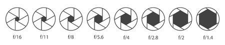 Ilustración de Creative vector illustration of camera shutter aperture with different iso isolated on transparent background. Art design monochrome diagrams collection. Abstract concept graphic element - Imagen libre de derechos