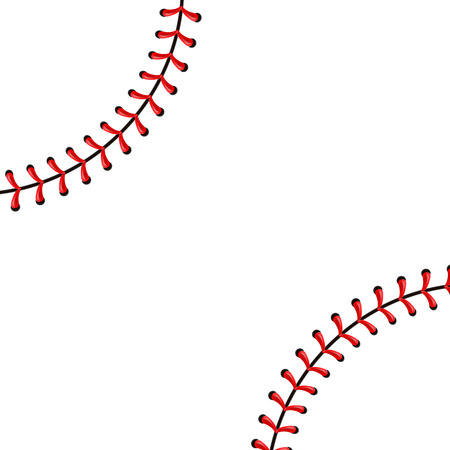 Ilustración de Creative vector illustration of sports baseball ball stitches, red lace seam isolated on transparent background. Art design thread decoration. Abstract concept graphic element. - Imagen libre de derechos