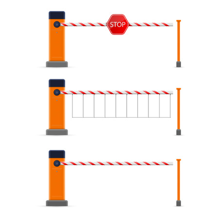 Illustration for Creative vector illustration of open, closed parking car barrier gate set with stop sign isolated on transparent background. Art design street road stop border. Abstract concept graphic element. - Royalty Free Image