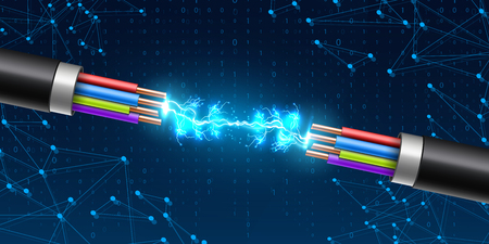 Illustration for Creative vector illustration of electric glowing lightning between colored break cable, copper wires with circuit sparks isolated on transparent background. Art design. Abstract concept element. - Royalty Free Image
