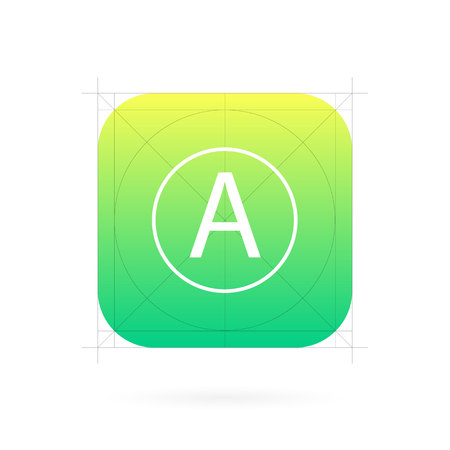 Foto de Creative illustration set of app icon template with guidelines, grids isolated on background. Art design interfaces and applications. Abstract concept graphic element for web and mobile button. - Imagen libre de derechos