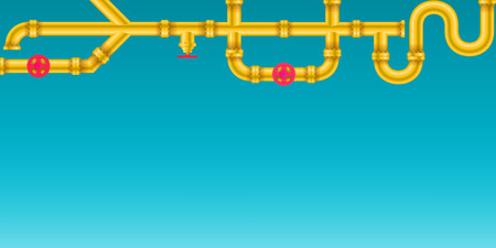 Photo pour Creative illustration of industrial oil, water, gas pipe system and ware pipeline fittings, valves on background. Art design plumbing and taps. Abstract concept graphic element. - image libre de droit