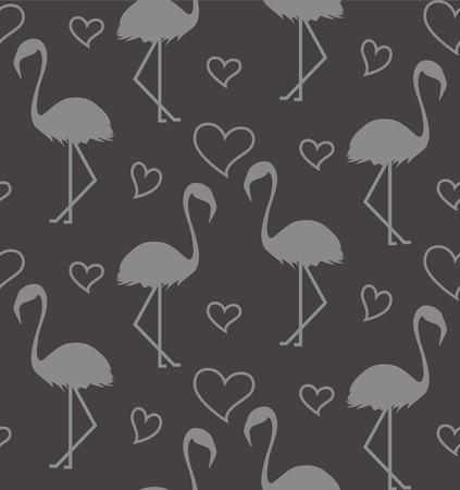 Illustration pour Seamless pattern with flamihgo and hearts on the gtey background. Monochrome background - image libre de droit
