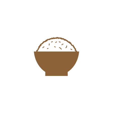 Ilustración de Simple rice on a bowl silhouette logo design template vector - Imagen libre de derechos