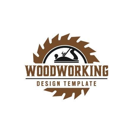 Ilustración de Woodworking gear logo design template vector element isolated - Imagen libre de derechos