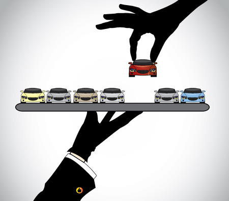 Illustration pour hand silhouette choosing the best red car from car dealer agent  - concept illustration of customer selecting a beautiful red car from a set of cars offered to him by the seller on a tray - image libre de droit