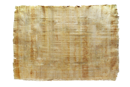 Foto de a sheet of natural Egyptian papyrus, created by authentic technology, isolated - Imagen libre de derechos