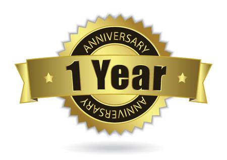 Ilustración de  1 Years Anniversary  - golden stamp with ribbon  - Imagen libre de derechos