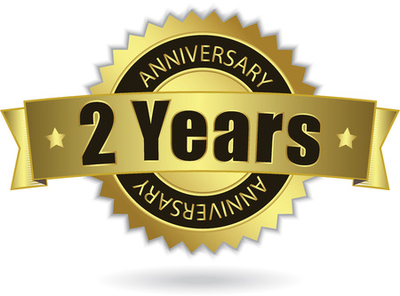 Illustration for  2 Years Anniversary  - Retro Golden Ribbon - Royalty Free Image