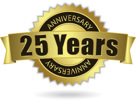 Illustration for  25 Years Anniversary  - Retro Golden Ribbon - Royalty Free Image