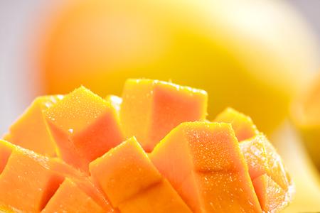 Foto de Mango cubes   slices close up   Macro - Imagen libre de derechos