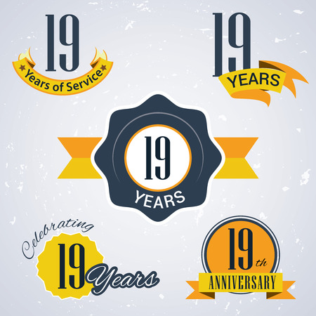 Illustration for 19 years of service,  19 years,   Celebrating 19 years,   19th Anniversary - Set of Retro vector Stamps and Seal for business - Royalty Free Image