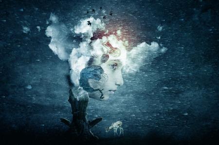 Foto de abstract futuristic art imagination of face in dreams - Imagen libre de derechos
