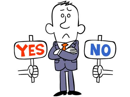 Illustration pour Businessman bother with YES or NO - image libre de droit