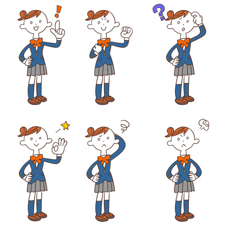 Illustration pour And pose of the six female students gesture (whole body) - image libre de droit