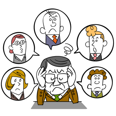 Businessman of managers who suffer from human relations