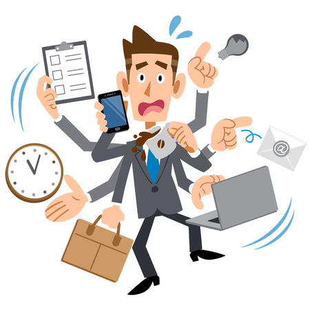 Illustration for Youth of busy too businessman - Royalty Free Image