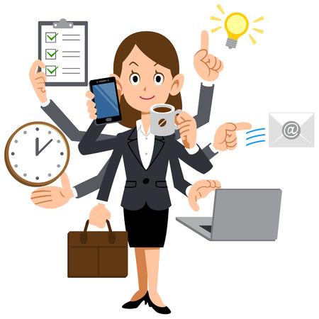 Illustration pour Businesswoman to do a multi-tasking - image libre de droit