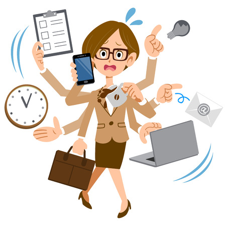Illustration pour Women who wear glasses to work in busy too company - image libre de droit