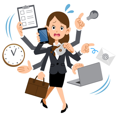 Illustration pour Women working in busy too company - image libre de droit
