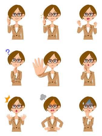 Gesture of working woman 9 different glasses, short hair and facial expression