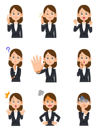 Illustrazione per Working woman 9 kinds gesture and facial expression - Immagini Royalty Free