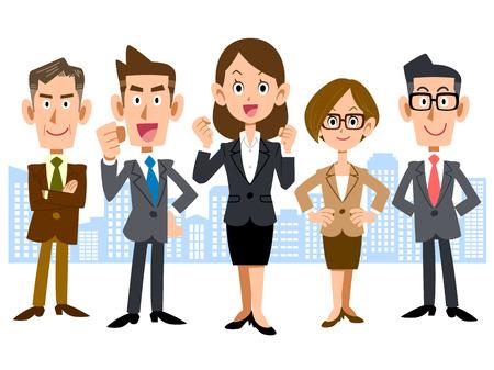 Illustration pour Women with business team - image libre de droit