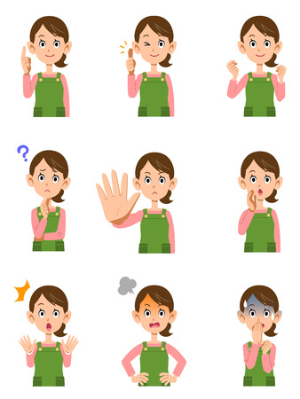 Illustrazione per Various expressions of women wearing aprons - Immagini Royalty Free